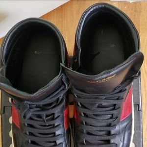 Yves Saint Laurent Shoes - YSL Black/Red Leather High-Top Sneaker (Size 48)
